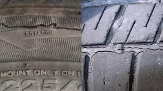 タイヤの大きな亀裂と小さな亀裂